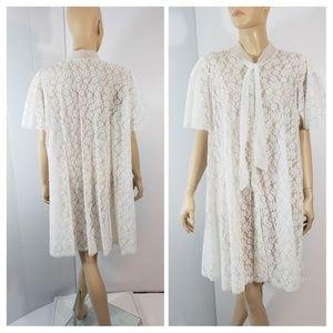 Miss Elaine Womens Nightgown Lace Mini Dress Sz M